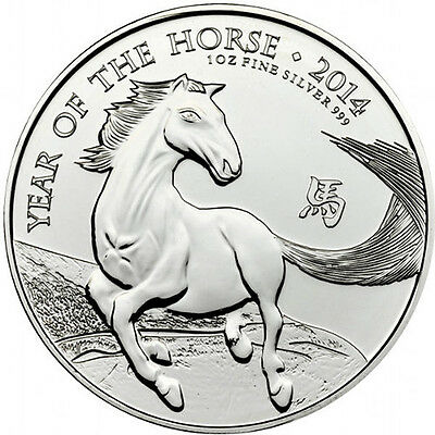 2014 UK Great Britain £ 2 Pounds Royal Mint Lunar Horse 1 oz .999 Silver Coin
