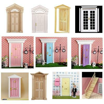 1:12 Scale Natural Dolls House Miniature Accessory Internal Exterior Wooden Door