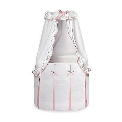 Badger Basket Majesty Baby Bassinet with Canopy, White/Pink New