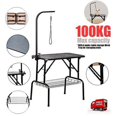Foldable Pet Dog Grooming Table Adjustable Arm Non Slip Surface Portable New UK