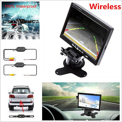 "Car SUV 7"" TFT LCD Rear View Backup Monitor+Wireless Parking Night Vision Camera"