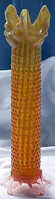 1890's Victorian Harrach Orange Yellow Opalescent Glass Vase & Pink Feet - 31cm