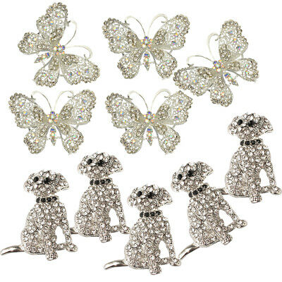 10pcs Vintage Animal Broaches Dog Crystal Rhinestone Butterfly Brooches Lot