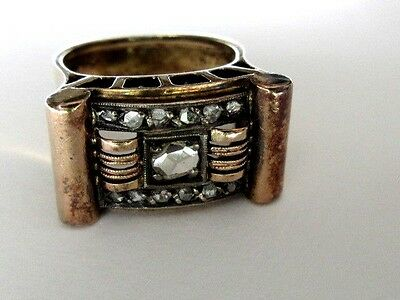 Handmade Very Old Large 18K Red Gold With Rose Cut Diamonds Ring