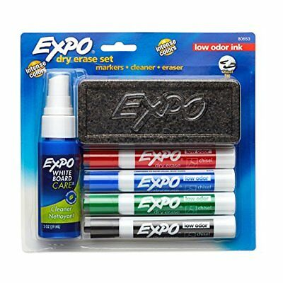 EXPO Low-Odor Dry Erase Set, Chisel Tip Assorted Colors 6-Piece Erasable Markers