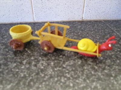 Smurf Snail and Cart Playset Germany vintage Rare (e)