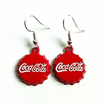 """0.7"""" Coca Cola Classic Coke Bottle Red Metal Cap Charm Earings Summer Collection"""