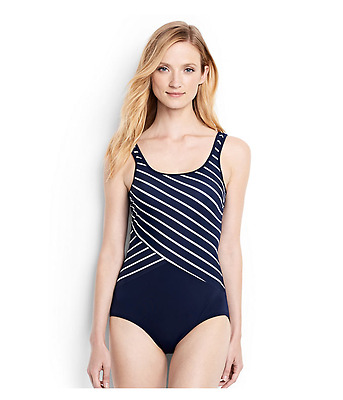 b32e9230cb954 Lands'End Women's Long Tugless One Piece Swimsuit Soft Cup Deep Sea 14  #477664