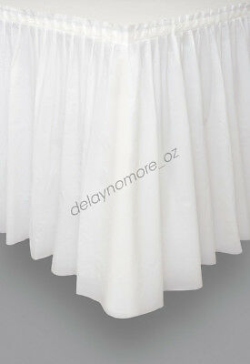 White Plastic Table Skirt Tableskirt Engagement Wedding Party Decoration 4.26m