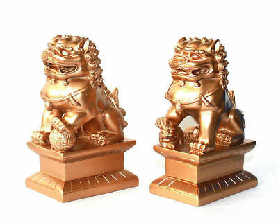 "Feng Shui Oriental Red Fu Foo Dog Home Protection Lions Guardians SET 4"" Tall"