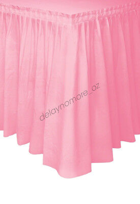 Pink Plastic Table Skirt Tableskirt Baby Shower Girl 1st Party Decoration 4.26m