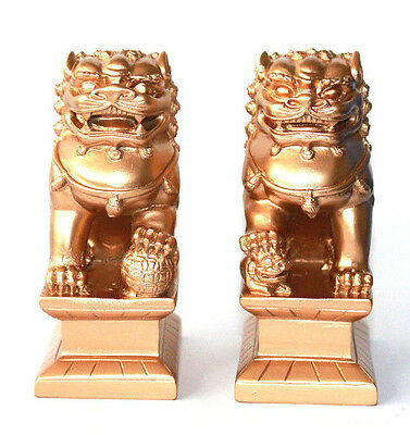 "GOLD Feng Shui Oriental Fu Foo Dog Home Protection Lions Guardians SET 4"" Tall"