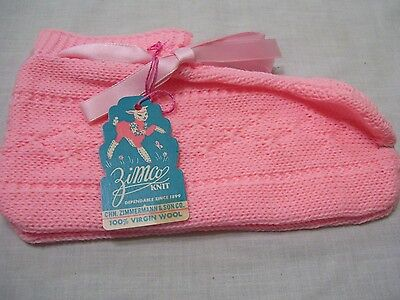 Zimco Vintage Adult Baby Booties Bed Socks Pink 100% Virgin Wool Zimmerman Tag