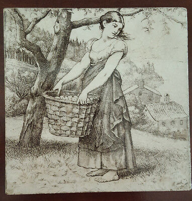 """Minton Tile. William Wise Country Life Series. Girl with a Basket of Apples. 6"""""""