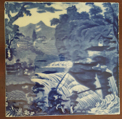 Antique Wedgwood Tile. Fishermen at a Waterfall
