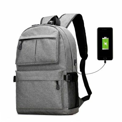 Fashion Anti-theft Laptop Notebook Backpack USB Charging Port Travel School Bag