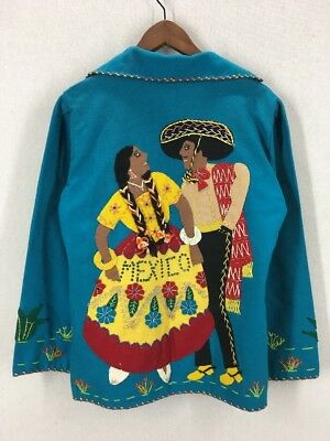 Vintage 50's Mexican Wool Embroidered Tourist Souvenir Jacket