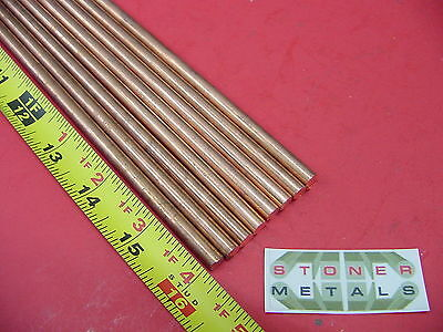 """8 Pieces 1/4"""" C110 COPPER ROUND ROD 16"""" long H04 Solid CU New Lathe Bar Stock"""
