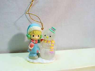 Precious Moments Christmas Ornament Child with Snowman Resin Not Breakable