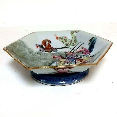 Antique Chinese Orange Peel Porcelain Footed Bowl W/ Character Scene Decoration