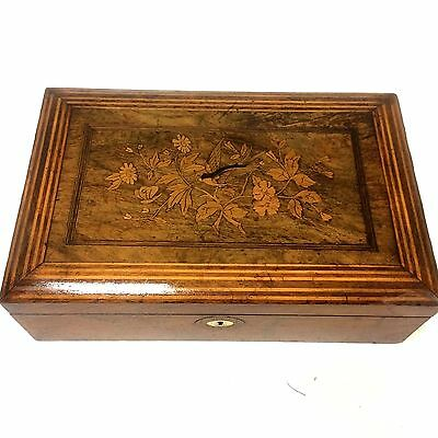 Wonderful 19th Century Wooden Box with Bird Inlay and More