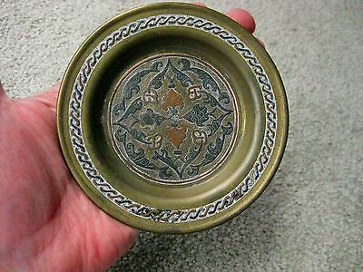 Antique Middle Eastern Brass Copper And Silver Inlaid Tray Dish