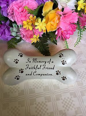 Dog Plaque Bone Ornament Grave Garden In Memory Of Pet Tribute Plaque Memorial