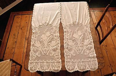 Pair Antique 19th c Embroidered Tambour Lace & Muslin Curtain Panels