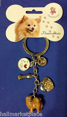 Pomeranian Hand-Painted Dog Keychain Key Ring 5 Charms / Little Gifts NEW