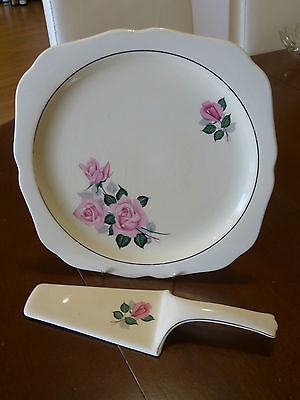 Rare! Pretty 1950'S Staffordshire Cake Plate & Server With Roses!