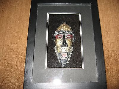 "Nice Rare African Tribal Warrior 3D Mask in Black Box Matte Hanging Frame 6""x8"""