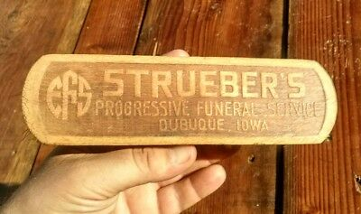 Original Vintage Strueber's Funeral Service Advertising Brush Dubuque Iowa