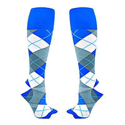 Stylish Nursing Compression Socks Blue Check Womens Knee Length Socks for Nurses
