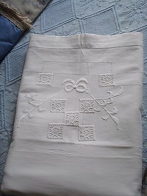 Vintage French Metis Linen Flat Sheet, Floral & Bow Embroidery Lattice Bed Sheet