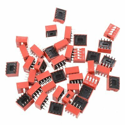 HD 40 Pcs 2.54mm Pitch 4 Position Slide Style DIP Switches Red