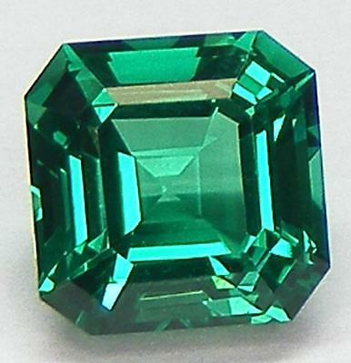 EXCELLENT CUT ASSCHER 7x7 MM. LAB CREATED NANOCRYSTAL EMERALD