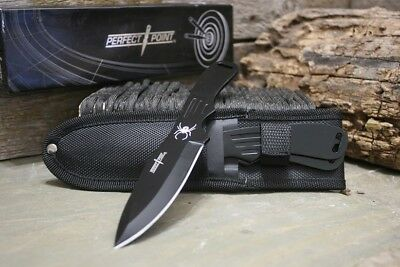 """Perfect Point Tactical Fixed Blade Throwing Knife Blade Set with Sheath 8"""" New R"""