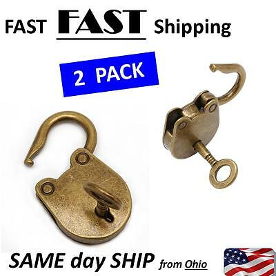 Vintage Antique Style Mini old Padlocks Key Lock With key - 2 PACK