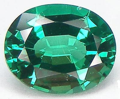 2 CARATS EXCELLENT CUT OVAL 10x8 MM. LAB CREATED NANOCRYSTAL EMERALD