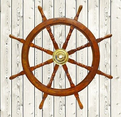 "36"" Nautical Marine Wooden Steering Ship Wheel ~ Pirate Captain Ship Wall Decor"