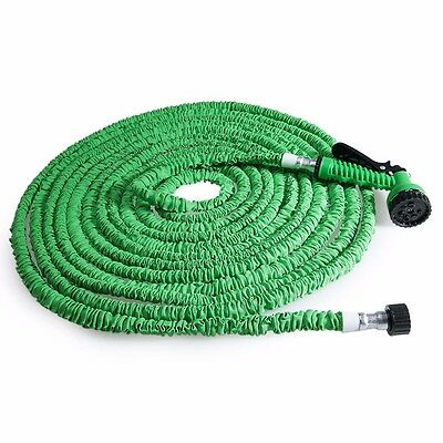 25/50/75/100/125/150FT Expandalble Water Hose Pipe + 7 Mode Spray Gun+Tap