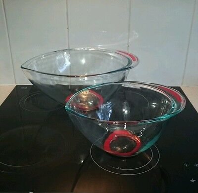 Set of 2 clear Pyrex mixing bowls with red trim