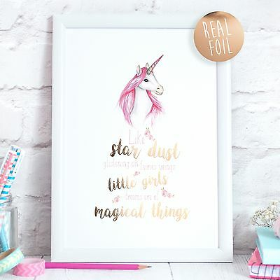 Unicorn Real Foil Rose Gold Quote Print Nursery Bedroom Art Girl Children Print
