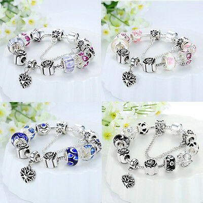 925 Silver Plated European Charms Bracelet Dangle LoveHeart Rose Crystal Bangle