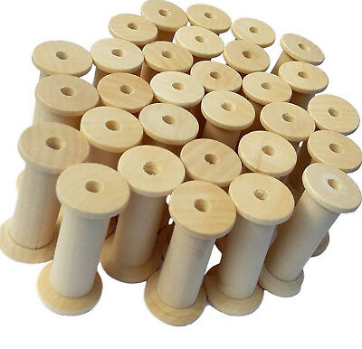 30 Wooden Bobbins Spools 50mm  Pack Sewing Ribbon Textile Yarn Craft FREE POST
