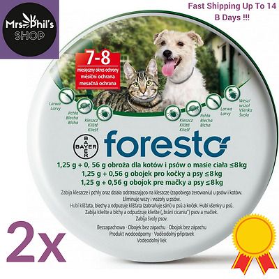 2PACK -  Bayer Seresto/Foresto Flea & ticks Collar 38cm for Small Dogs and Cats