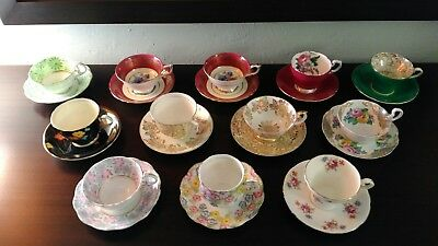 Vintage English Tea Cup Collection - Lot of 12 Cups & Saucers