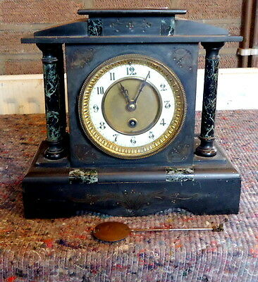"""""""SLATE & MARBLE"""" Mantel Clock for Restoration or Spares with Pendulum."""