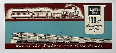 Vintage Ink Blotter RR Burlington Railroad Trains Zephyr Vista-Dome 1949 Paper