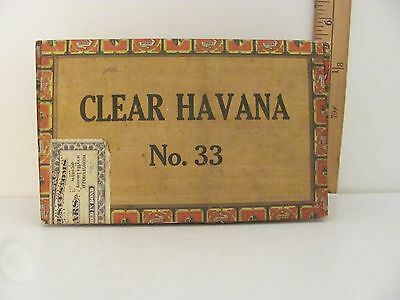 Vintage Empty Cigar Box Solid Wood and Paper Clear Havana No. 33 (Lot #1)